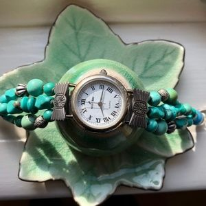 Sterling Silver Turquoise Peyote Bird Watch
